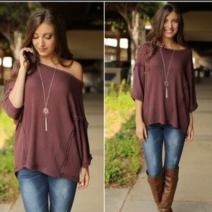 Mauve Dolman Sleeve Top